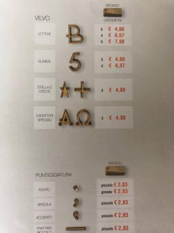 Bronzinės raidės paminklui Vilvo šriftas